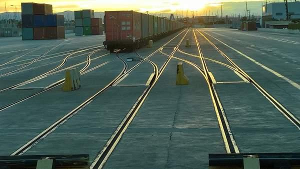 Plataforma ferroviaria en Sagunt