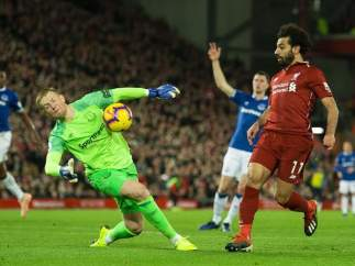 Mohamed Salah, en un Everton vs. Liverpool.