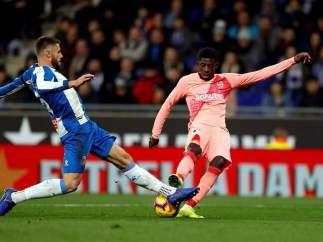 Ousmane Dembélé, contra el Espanyol.