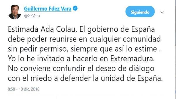 Tuit de Vara sobre Ada Colau