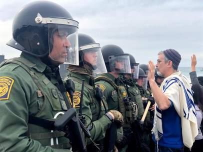 Protesta en favor de la caravana de migrantes centroamericanos