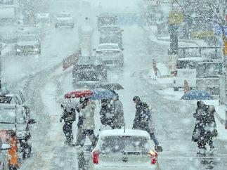 Bajo una intensa nevada