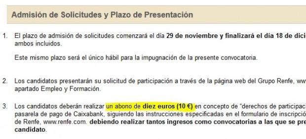Renfe exige un pago de 10 euros por participar en un proceso de selección