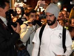 Isco a su llegada a Huesca con el Real Madrid.
