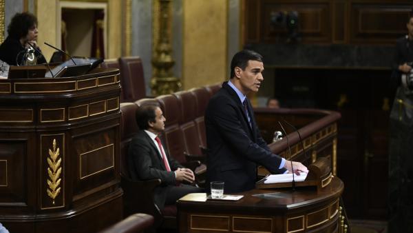 Pedro Sánchez en una comparencia en el Congreso.