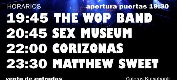 El WOP Festival celebra el viernes su 8ª edición en el Euskalduna con Matthew Sweet, Corizonas y Sex Museum en el cartel