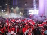 Aficionados de River Plate celebrando la victoria en la Copa Libertadores.