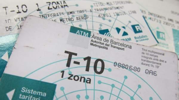 Tarjeta T10 del metro de Barcelona