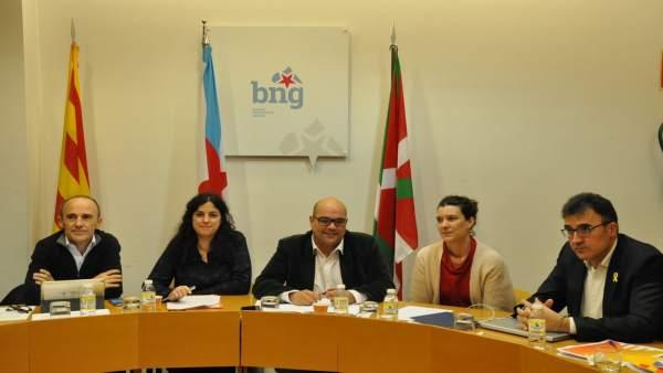 Reunión de BNG, Bildu y ERC en Santiago de Compostela para abordar una lista