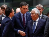 El presidente español, Pedro Sánchez, junto con Antonio Costa, primer ministro portugués, antes de un Consejo Europeo