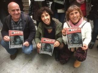 Lola Gutiérrez al lado de sus compañeros del Sindicato.