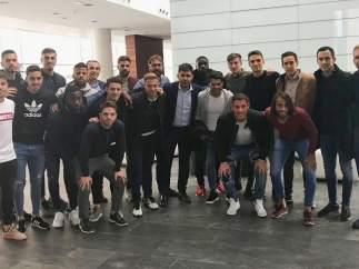 David Aganzo y los jugadores del Reus