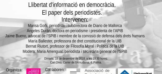 El SPIB organiza el próximo martes un debate público sobre la función social del periodismo