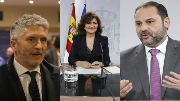 Los ministros Fernando Grande-Marlaska, Carmen Calvo y José Luis Ábalos