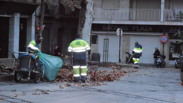 Operarios de Inagra retirando hojas de las plazas de Granada