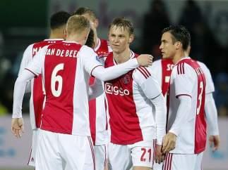 El Ajax celebra un gol frente al Bayern de Múnich.