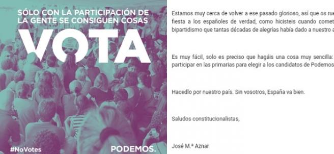 Imagen de la campaña de Podemos y una parte de la carta enviada a las bases