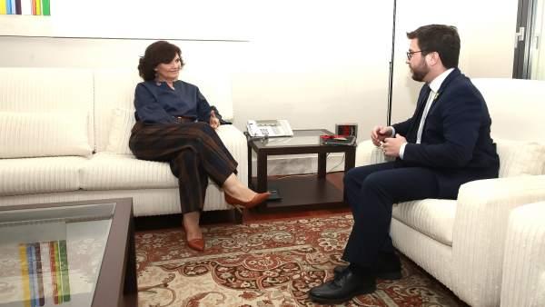 Carmen Calvo se reúne en Moncloa con Pere Aragonés