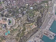 Vista de Google Maps de la montaña de Montjuïc de Barcelona.