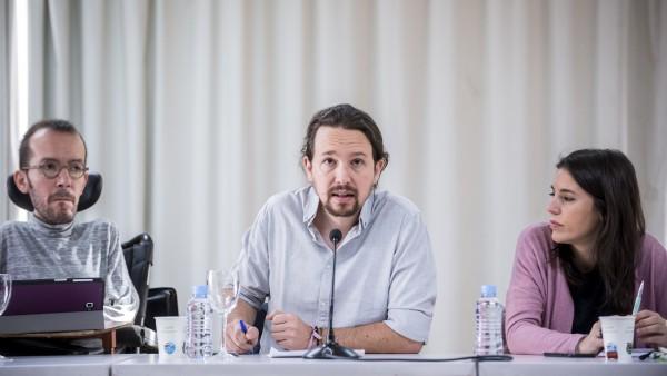 Pablo Iglesias,  Irene Montero y Pablo Echenique en el Consejo de Podemos