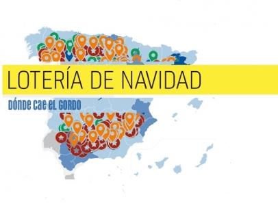 Mapa premiado en la Lotería de Navidad