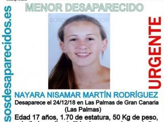 Nayara Nisamar Martín Rodríguez, desaparecida el lunes 24 de diciembre.