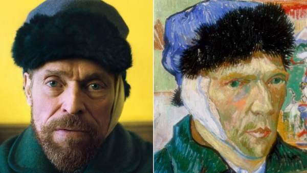 El actor Willem Dafoe y un autorretrato de Vincent Van Gogh