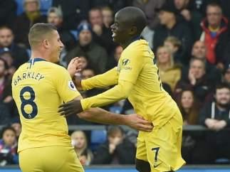 N'Golo Kanté, celebrando su gol contra el Crystal Palace.