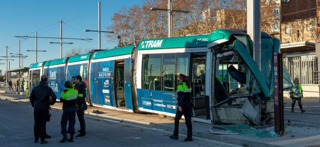 Accidente de tranvía en Sant Adrià del Besòs.