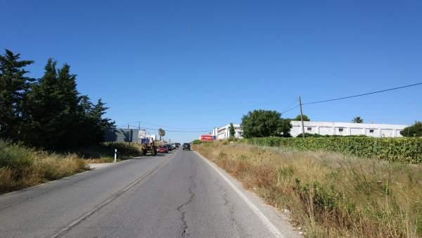 Carretera que une Sanlúcar con Chipiona por el tramo del hospital
