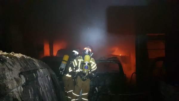Incendio en un taller mecánico en La Almunia