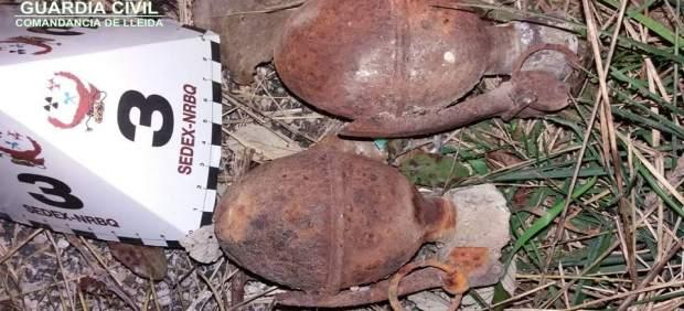 Granadas encontradas en una casa en ruinas en Abella de la Conca (Lleida)