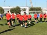 Los jugadores del Reus Deportiu, en un entrenamiento