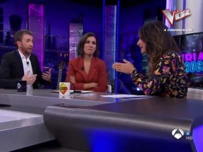 Pablo Motos, Ana Pastor y Nuria Roca, en 'El hormiguero'.