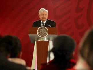 Andrés Manuel López Obrador en una comparecencia.