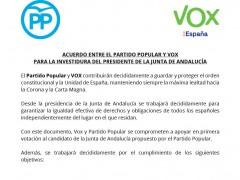 El acuerdo entre Vox y el PP para la investidura de Juanma Moreno
