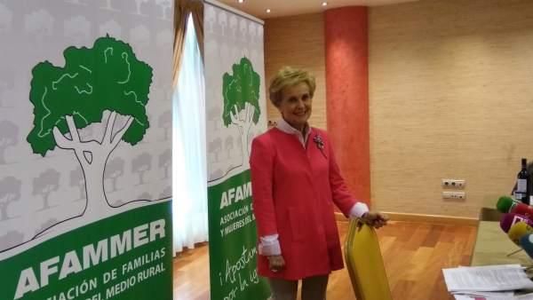 Carmen Quintanilla en rueda de prensa como presidenta de Afammer