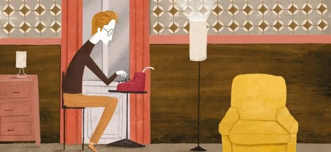 Wes Anderson escribiendo uno de sus maravillosos guiones