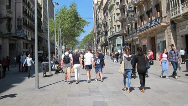 Zona comercial del centro de Barcelona.