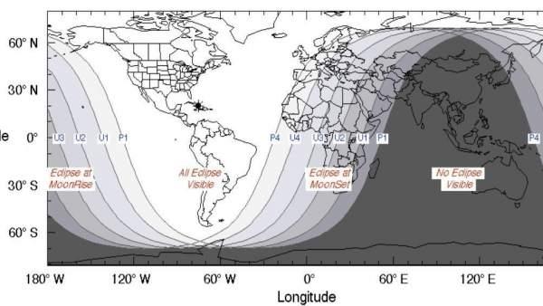 Visibilidad del eclipse del 21 de enero