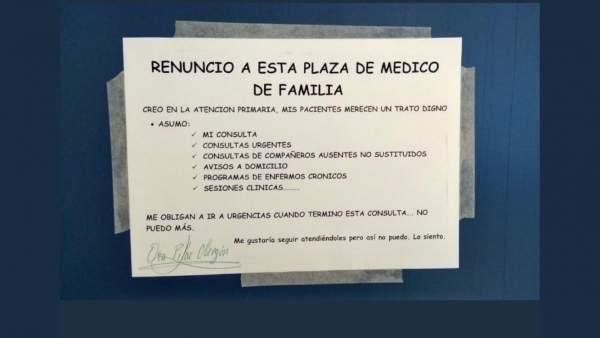Renuncia a la plaza de un médico. 11-1-2019