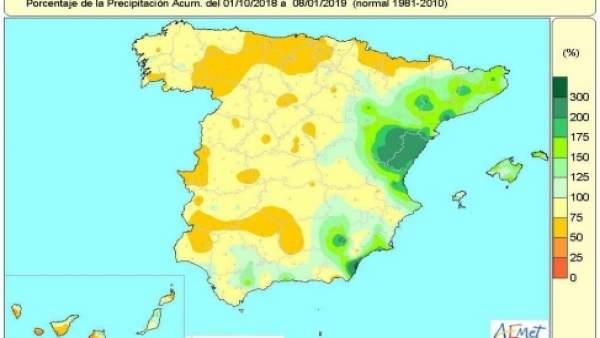 Balance hídrico en España entre el 2 y el 8 de enero de 2019