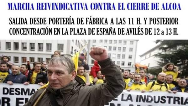 Cartel movilización Alcoa.