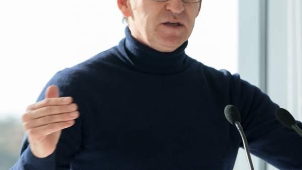 El presidente de la Xunta, Alberto Núñez Feijóo, durante el acto
