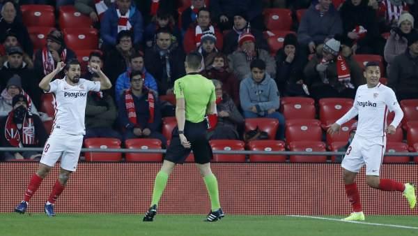 Nolito celebra un gol en San Mamés