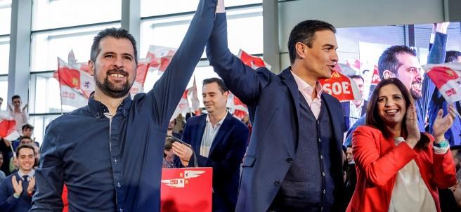El presidente del Gobierno Pedro Sánchez, en la presentación del candidato a la Junta de Castilla y León Luis Tudanca