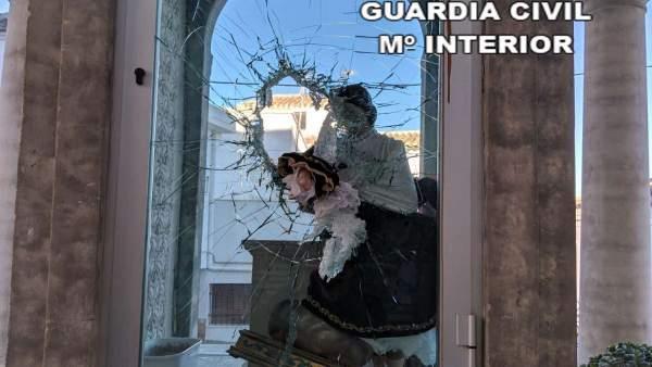 Imagen de la Virgen del Carmen de Purchena dañada