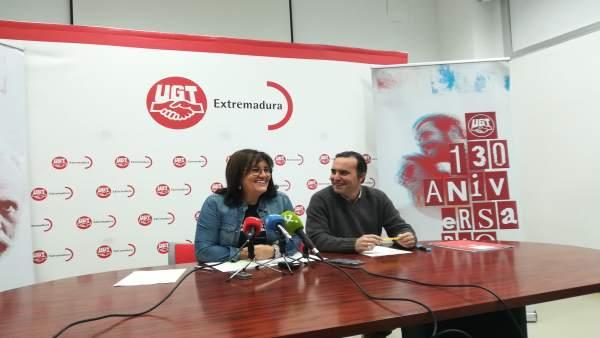Rueda de prensa de Patrocinio Sánchez, secretaria general de UGT Extremadura