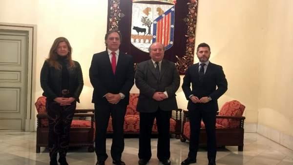 De izquierda a derecha Sánchez Bellota, García Carbayo, Cabero y López