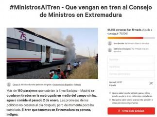 Campaña de firmas para que los ministros vayan a a Extremadura en tren